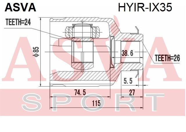 ШРУС внутр. прав kia sportage HYIRIX35